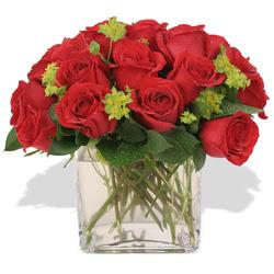Tunceli güvenli kaliteli hızlı çiçek  10 adet kirmizi gül ve cam yada mika vazo
