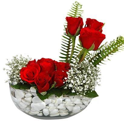 cam içerisinde 9 adet kirmizi gül  Tunceli çiçek , çiçekçi , çiçekçilik