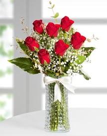 Cam vazoda 7 adet kırmızı gül  Tunceli online çiçekçi , çiçek siparişi