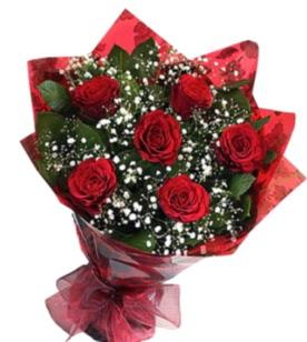 6 adet kırmızı gülden buket  Tunceli 14 şubat sevgililer günü çiçek