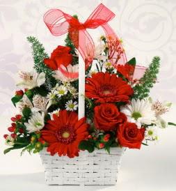 Karışık rengarenk mevsim çiçek sepeti  Tunceli çiçek satışı