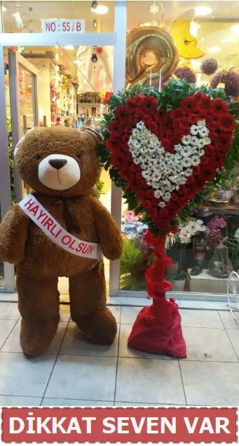 1.5 Metre peluş ayı ve Kalp  Tunceli çiçek servisi , çiçekçi adresleri