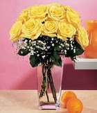 Tunceli çiçek gönderme  9 adet sari güllerden cam yada mika vazo