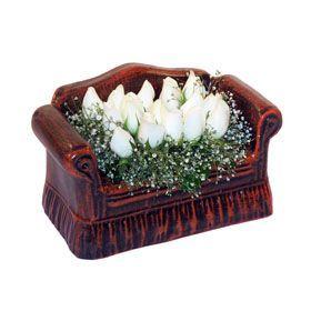 seramik içerisinde 11 gül  Tunceli İnternetten çiçek siparişi