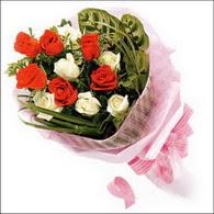 5 kirmizi 5 beyaz güllerden   Tunceli ucuz çiçek gönder