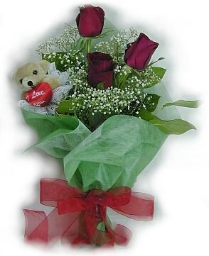 3 adet gül ve küçük ayicik buketi  Tunceli hediye çiçek yolla