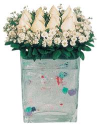 Tunceli çiçek gönderme sitemiz güvenlidir  7 adet beyaz gül cam yada mika vazo tanzim