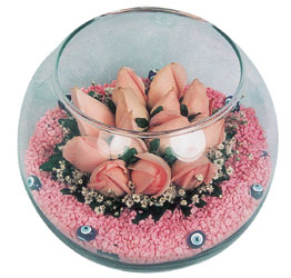 Tunceli çiçek gönderme  cam fanus içerisinde 10 adet gül