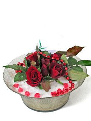 Tunceli çiçek , çiçekçi , çiçekçilik  EN ÇOK Sevenlere 7 adet kirmizi gül mika yada cam tanzim