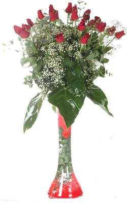 Tunceli çiçek siparişi sitesi  19 ADET GÜL VE FIL CAM AYAGI
