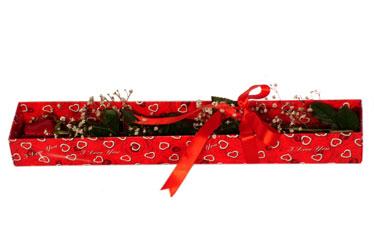 Tunceli güvenli kaliteli hızlı çiçek  kutu içerisinde 1 adet kirmizi gül