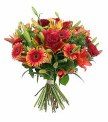 Tunceli kaliteli taze ve ucuz çiçekler  3 adet kirmizi gül ve karisik kir çiçekleri demeti