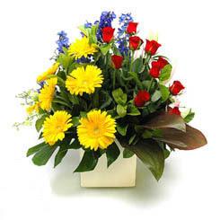 Tunceli ucuz çiçek gönder  9 adet gül ve kir çiçekleri cam yada mika vazoda