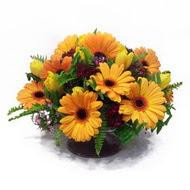 gerbera ve kir çiçek masa aranjmani  Tunceli çiçek , çiçekçi , çiçekçilik