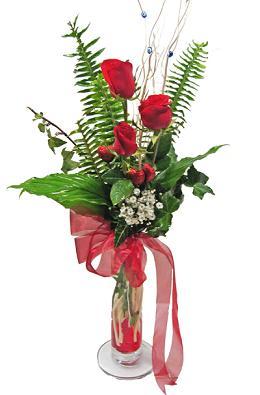 Çiçek gönderin cam vazoda 3 gül çiçekleri  Tunceli çiçek yolla