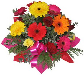 Karisik mevsim çiçeklerinden buket  Tunceli internetten çiçek siparişi