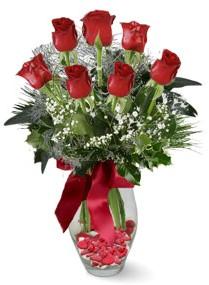 7 adet vazoda gül  Tunceli çiçek gönderme  kirmizi gül