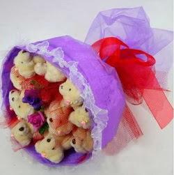 11 adet ayiciktan buket  Tunceli çiçek satışı
