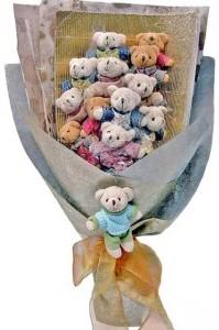 12 adet ayiciktan buket tanzimi  Tunceli hediye çiçek yolla