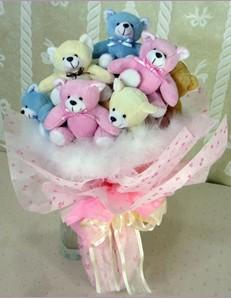 9 adet ayiciktan buket  Tunceli online çiçek gönderme sipariş