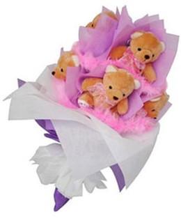 9 adet ayiciktan buket  Tunceli internetten çiçek siparişi