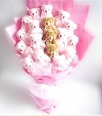 17 adet pelus ayicik buketi  Tunceli çiçek online çiçek siparişi