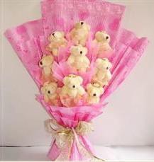 9 adet pelus ayicik buketi  Tunceli çiçekçiler