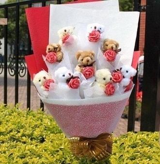 Tunceli çiçek , çiçekçi , çiçekçilik  9 adet ayicik ve 9 adet yapay gül
