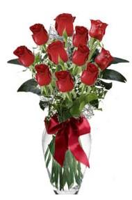 11 adet kirmizi gül vazo mika vazo içinde  Tunceli internetten çiçek satışı