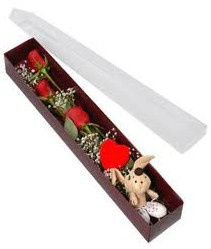 kutu içerisinde 3 adet gül ve oyuncak  Tunceli çiçekçi mağazası