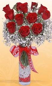10 adet kirmizi gülden vazo tanzimi  Tunceli çiçek yolla