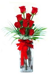Tunceli güvenli kaliteli hızlı çiçek  9 adet mika yada cam vazoda gül tanzimi