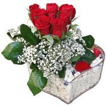 Tunceli uluslararası çiçek gönderme  kalp mika içerisinde 7 adet kirmizi gül