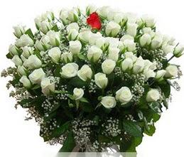 Tunceli çiçek gönderme  100 adet beyaz 1 adet kirmizi gül buketi