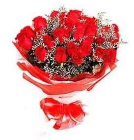 Tunceli cicek , cicekci  12 adet kırmızı güllerden görsel buket