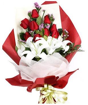 Tunceli çiçekçi telefonları  1 dal kazablankaa 9 adet kırmızı gül buketi