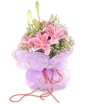 3 dal kazablanka görsel buketi  Tunceli çiçek gönderme
