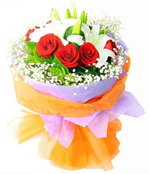 Tunceli çiçek servisi , çiçekçi adresleri  1 dal kazablanka 7 adet kırmızı gül buketi