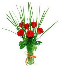 Tunceli online çiçekçi , çiçek siparişi  6 adet kırmızı güllerden vazo çiçeği
