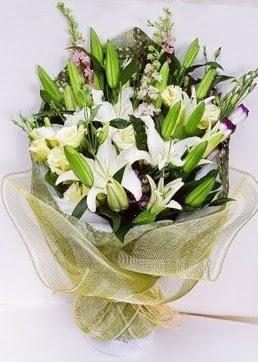 Tunceli online çiçek gönderme sipariş  3 adet kazablankalardan görsel buket çiçeği