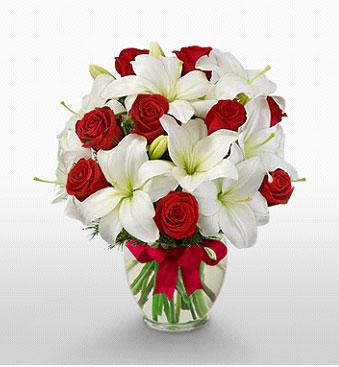 Tunceli İnternetten çiçek siparişi  1 dal kazablanka 11 adet kırmızı gül vazosu