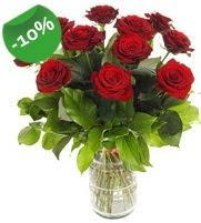 11 adet vazo içerisinde kırmızı gül  Tunceli ucuz çiçek gönder