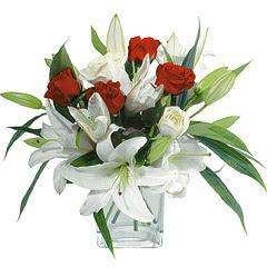 vazo içerisinde 4 gül 1 adet kazablanka  Tunceli ucuz çiçek gönder