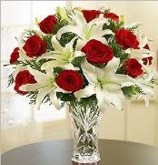 12 adet kırmızı gül 2 dal kazablanka vazosu  Tunceli yurtiçi ve yurtdışı çiçek siparişi