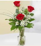 Vazo içerisinde 3 adet kırmızı gül  Tunceli yurtiçi ve yurtdışı çiçek siparişi