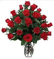 Tunceli çiçek yolla  24 adet kırmızı gülden vazo tanzimi