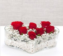 kalp içerisinde 7 adet kırmızı gül  Tunceli çiçek , çiçekçi , çiçekçilik