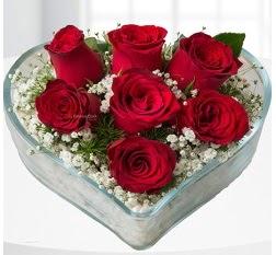 Kalp içerisinde 7 adet kırmızı gül  Tunceli online çiçek gönderme sipariş