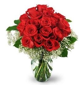 25 adet kırmızı gül cam vazoda  Tunceli online çiçekçi , çiçek siparişi