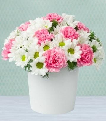 Seramik vazoda papatya ve kır çiçekleri  Tunceli çiçek yolla
